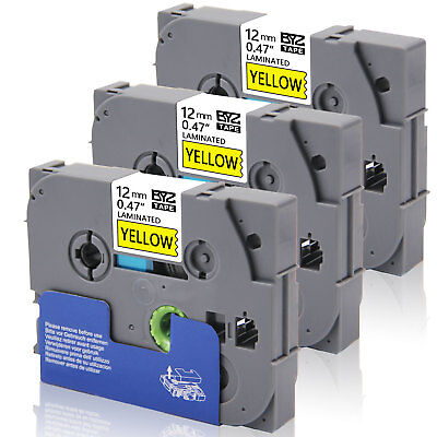 3pk Tze631 Compatiblebrother 12mm 0.47blackyellow Label Tape P-touch Pt-h110