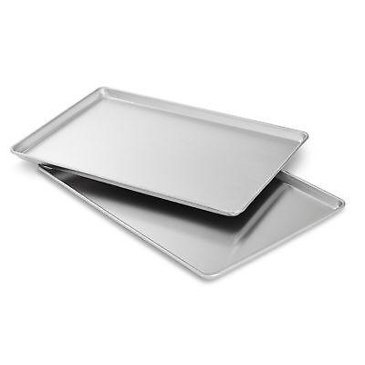 2 pk Commercial Grade 18 x 13 Half Size Aluminum Sheet Pans Baking Bread Cookie