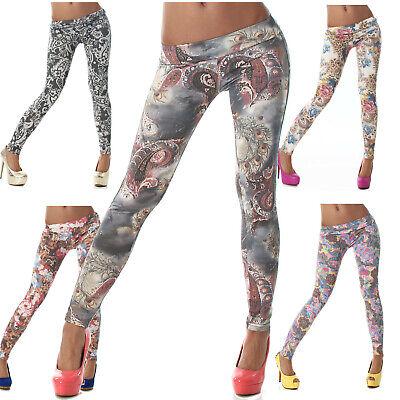 Leggings lang Muster Clubwear Gogo Tanz Sport Freizeit Trend Größe Leggins Hosen