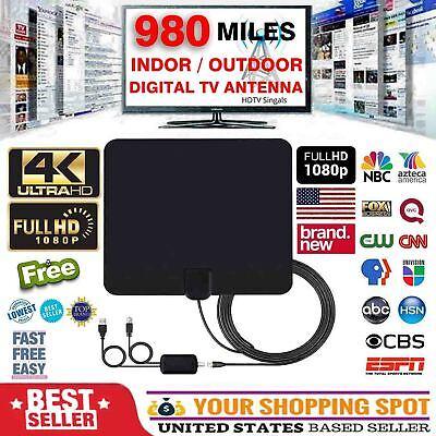 [980 Miles] Clear Indoor Digital TV HDTV Antenna [2019 Latest] UHF/VHF/1080p 4K