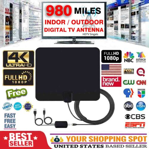 [980 Miles] Clear Indoor Digital TV HDTV Antenna [2019 Latest] UHF/VHF/1080p 4K