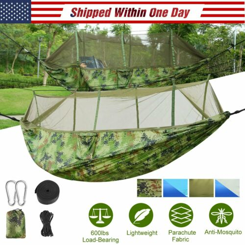 600lbs Portable Double Camping Hammock with Mosquito Net Outdoor Hanging Bed