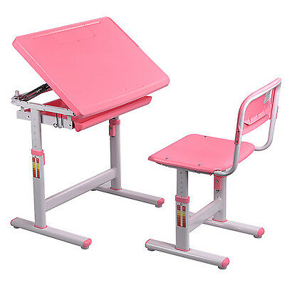 I Ruminate on Kids Height Adjustable Desk Chair Set Art Study Work Rank, Pink