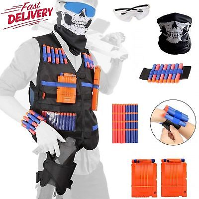 NERF TACTICAL VEST Kit Boys Game Gun Strike Foam Darts Mask Glasses ALL IN ONE