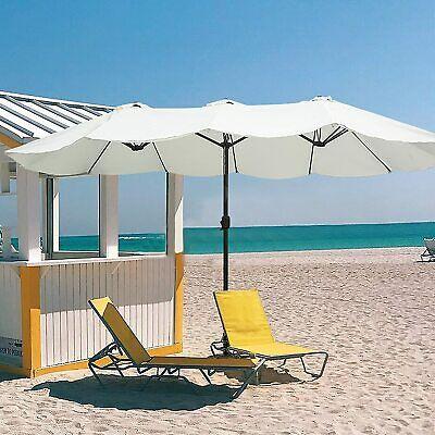 Luckyermore 15ft Outdoor Double Sided Umbrella Twin Patio Crank Garden Sun Shade