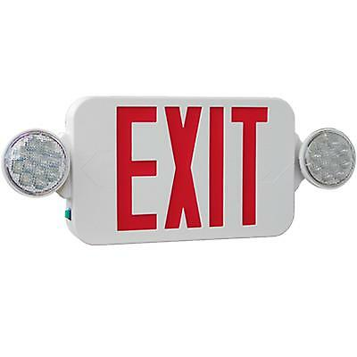 High Output Led Exit Sign With Lights Combo Red And White Kl-meslho-r-u-wh