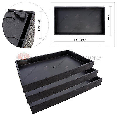 "3 Piece 1 1/2"" Deep Black Plastic Display Tray Storage Stackable Organizers"