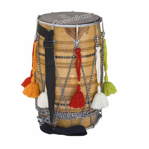AMAZING SALE Punjabi Bhangra Dhol Musical Instrument mango Wood Barrel Shaped