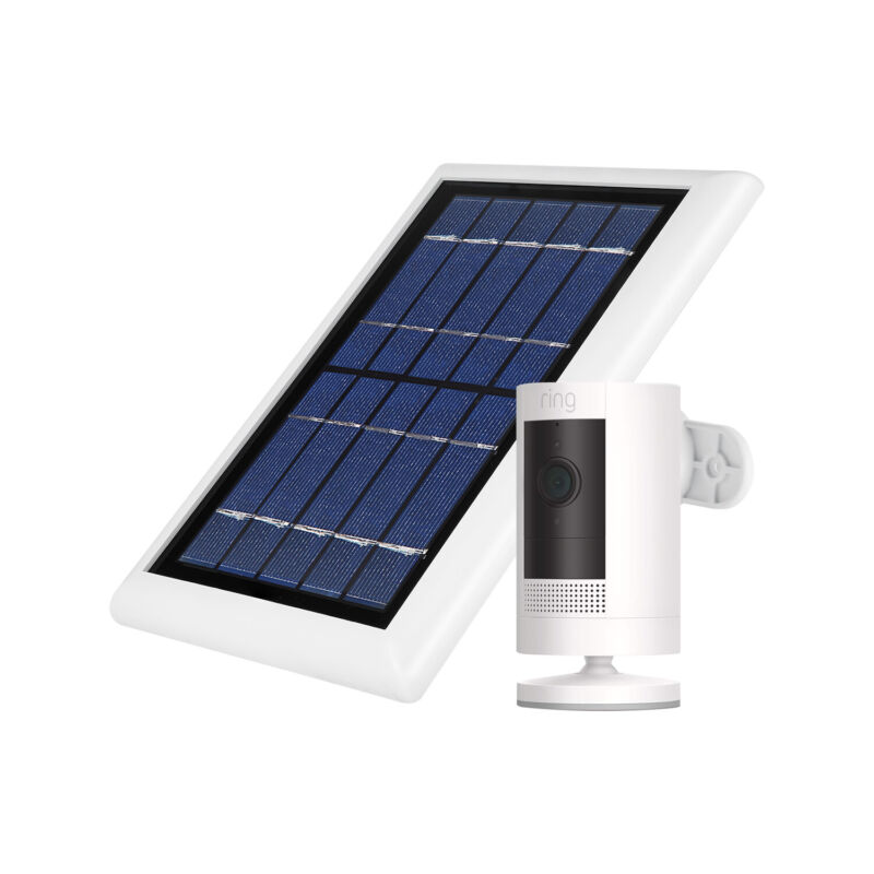 Ring Stick Up Cam Battery with Solar Panel Bundle Deal Camera (1 Pack, White)