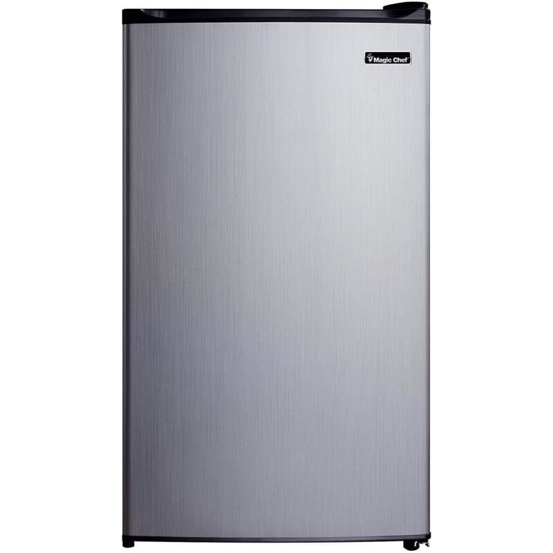 Magic Chef 3.5 Cubic Feet Compact Mini Refrigerator & Freezer, Silver (Damaged)