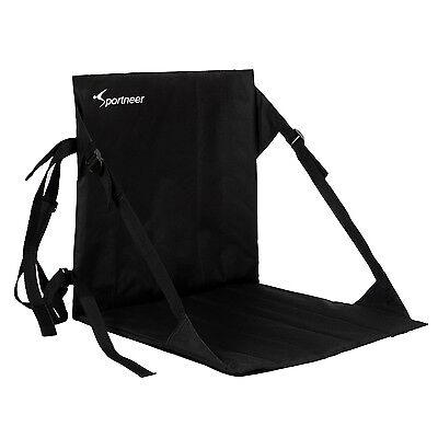 Black Stadium Bleacher Cushion Chair, Padded Folding Portable Sports Seats Folding Stadium Bleacher Seats
