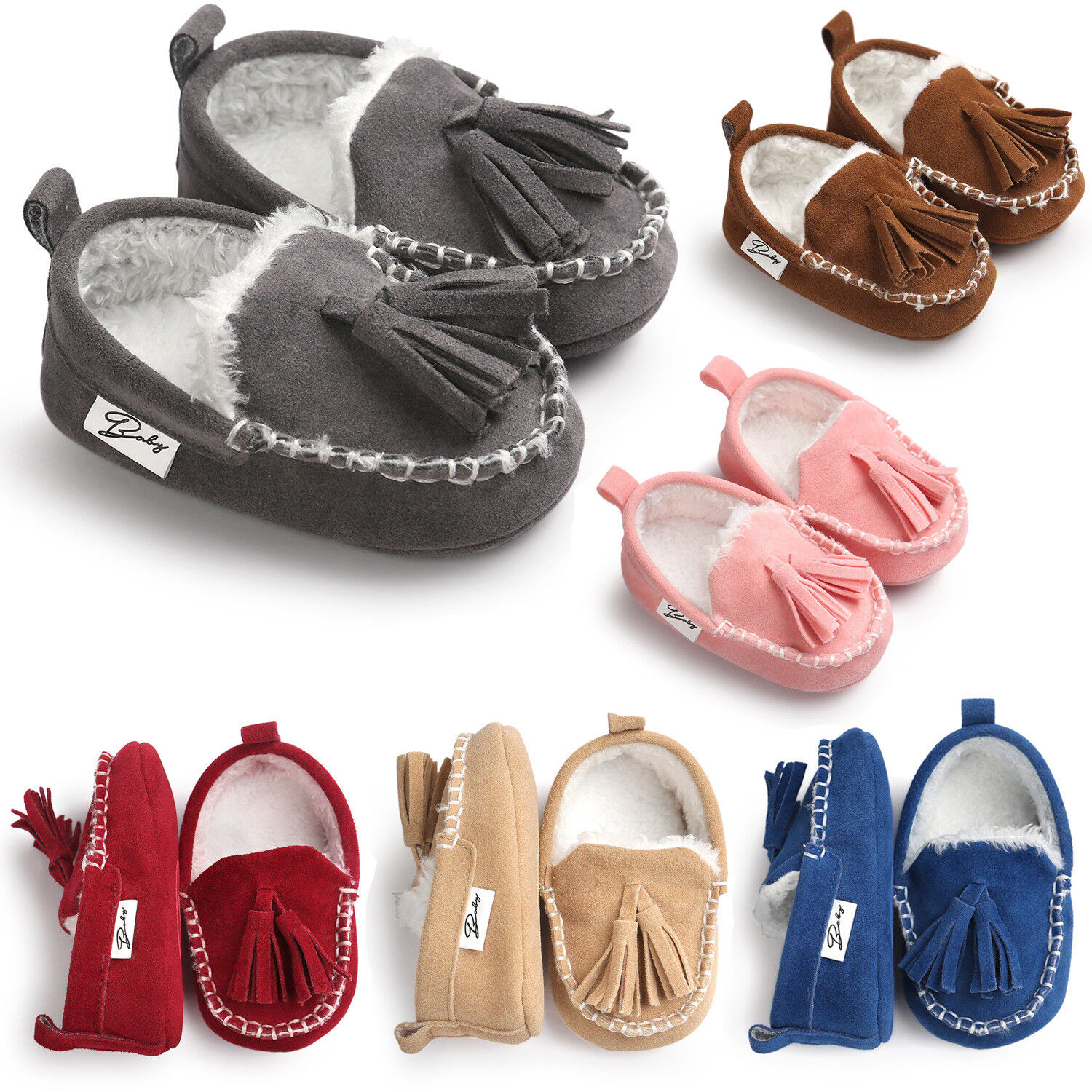 Cute Grey Baby Girls Moccasins Shoes Booties Boots Walking S