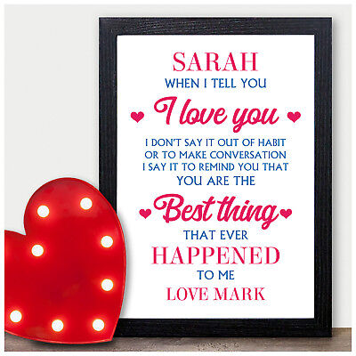 Valentines Day Gifts for Couples PERSONALISED Presents for Her Him Husband Wife ()
