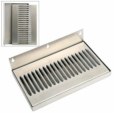 10 In Draft Beer Wall Mount Drip Tray - 304 Stainless Steel - No Drain
