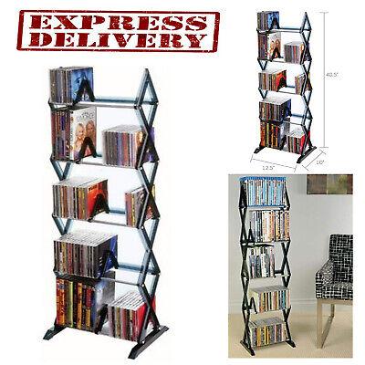 Media Shelf 5 Tier DVD Tower Rack Game CD Display Organizer Stand Holder