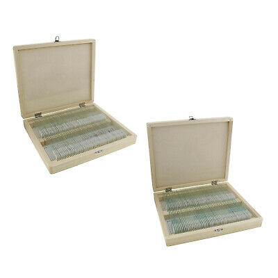 Monmed Prepared Microscope Slides - 200 Pc Sample Kit With Wooden Box