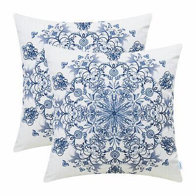2Pcs CaliTime Grey Blue Cushion Cover Pillow Shell Snowflake