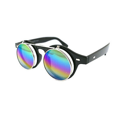 Steampunk Goggles Glasses Round Sunglasses Emo Retro Vintage Flip Up Cyber A1