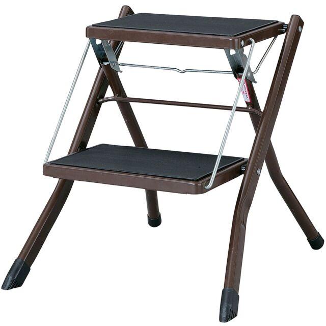 Folding 2 Steps Stool Compact Ladder Home Kitchen Office PC 334BR Azumaya  Japan