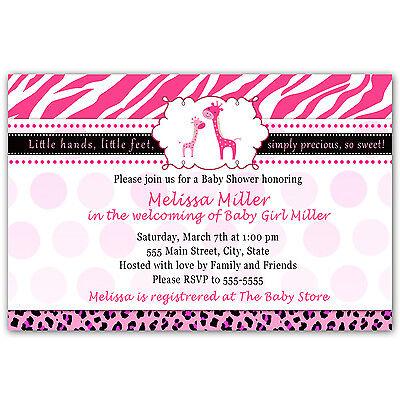 Leopard Baby Shower Invitation (30 Giraffe Baby Shower Invitation Leopard Zebra Party Invite Hot Pink Girl)