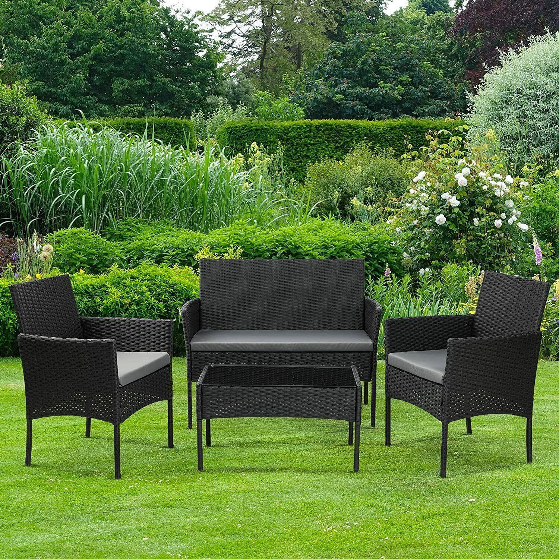 Garden Furniture - 4 Piece Rattan Effect Outdoor Garden Patio Furniture Set Sofa + Table + 2 Chairs