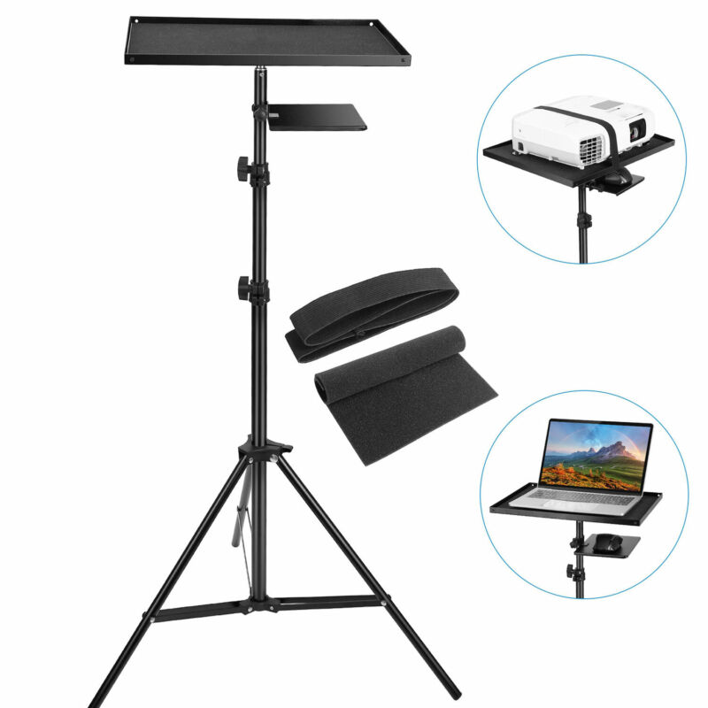 """Universal Laptop Projector Tripod Stand w/ Tray Height Adjustable 27"""" to 75"""""""