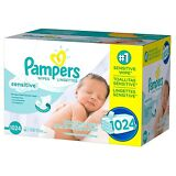 PAMPERS Sensitive Baby Wipes 1024ct.FREE SHIPPING & PERFUME FREE, |NO SALES TAX|