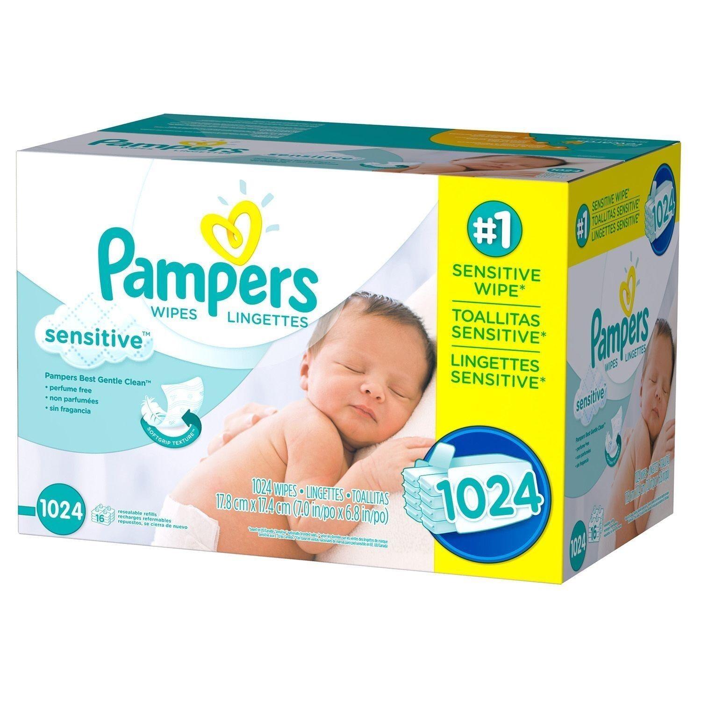 Купить PAMPERS SENSITIVE PERFUME FREE - PAMPERS Sensitive Baby Wipes 1024ct.FREE SHIPPING & PERFUME FREE,  NO SALES TAX 