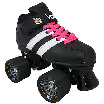 Pair Roller Skates - Riedell Volt Roller Derby Speed Skates  W/ 2 pair of Laces (White & Pink)