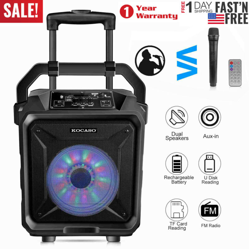 "Portable Rolling 8"" DJ Karaoke Party PA Speaker SYSTEM w/ Wireless Mic US SHIP"