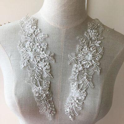 Braut Spitze Applikation Perlen Hochzeit Motiv Blüte Naturweiss Kostüm Rand (Weiße Spitze Kostüm)