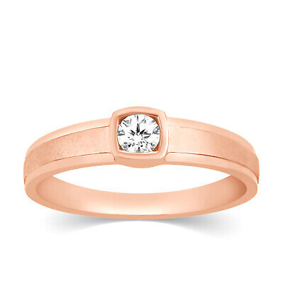 Mens 10k Rose Gold Diamond Channel Set Solitaire Wedding Band Ring 0.25 Ct