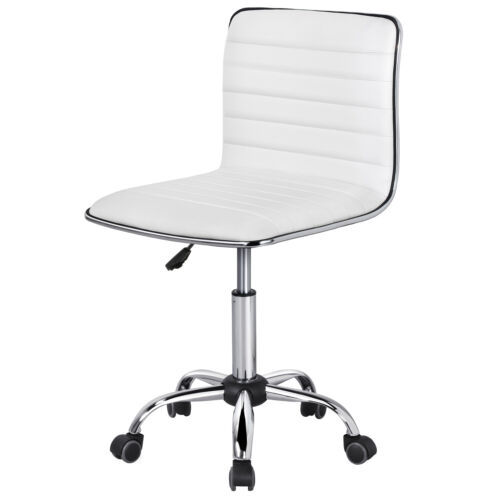 Office Desk Chair PU Leather Low Back Ribbed Armless Swivel