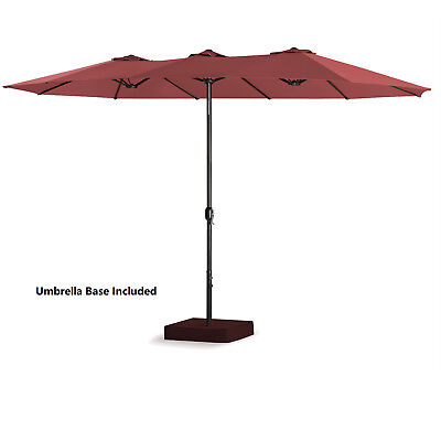 15 Ft Double-Sided Outdoor Market Umbrella 12 Ribs, Crank System, Base Included