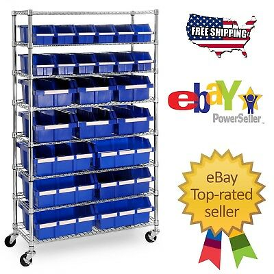 New Multipurpose 24-Bin Rolling Rack Garage Metal Storage Units Shelving Wheels ()
