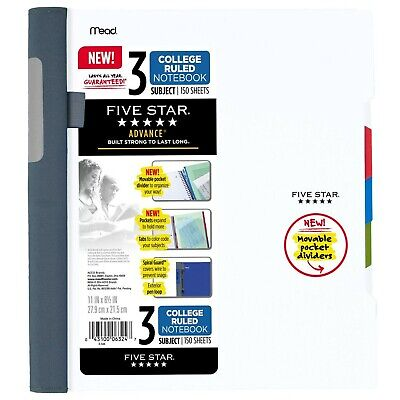 Five Star Advance Spiral Notebook 3 Subject College Ruled Paper 150 Sheets...