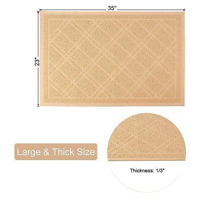 """35"""" x 23"""" Premium Non-slip Cat Litter Mat, Durable Beige Color Super Large Size"""