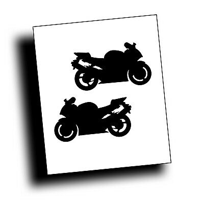 PAIR MOTORCYCLE DECAL for 954 CBR crotch rocket sport bike rider on trailer BLK