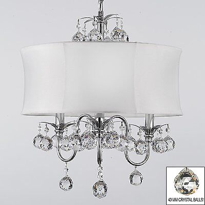 MODERN CONTEMPORARY WHITE DRUM SHADE & CRYSTAL CEILING PENDANT LIGHTING FIXTURE