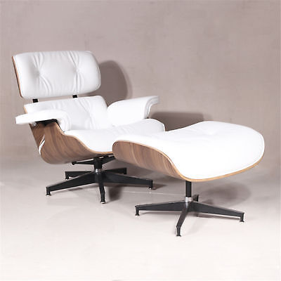 Classic Eames Phrasing Lounge Chair and Ottoman Walnut wood White Hot Sale----US!!!