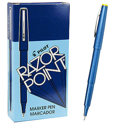 Pilot Razor Point Pens 11004 Blue 0.3mm Extra Fine Plastic Point Pen 1 Dozen