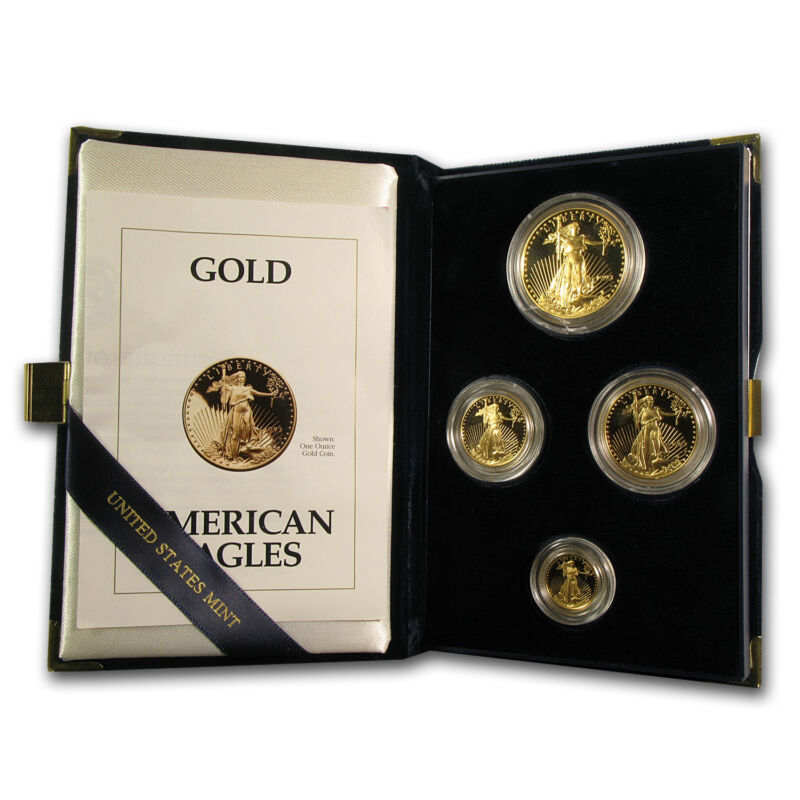 1993 4-coin Proof Gold American Eagle Set (w/box & Coa) - Sku #4895