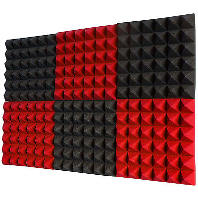 "6Pk Acoustic Foam Sound Absorption Pyramid Studio Treatment Wall Panels 2"" Red/C"