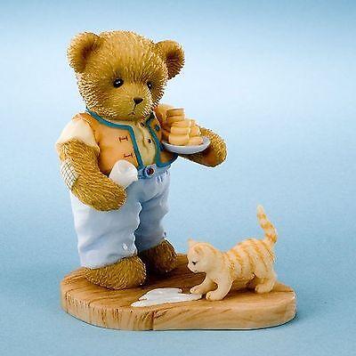 Cherished Teddies*BEAR with DOG, MILK & COOKIES*New*NIB*spring*GARDEN*4020594