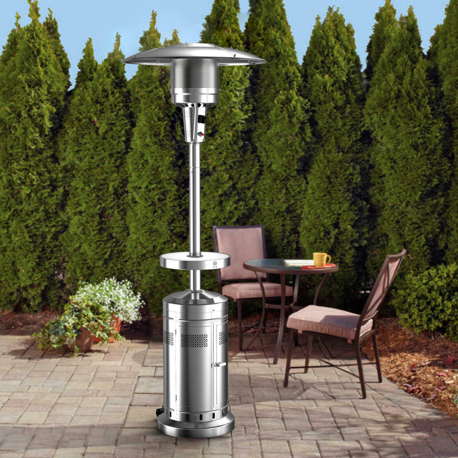 patio heater with led table with wheels