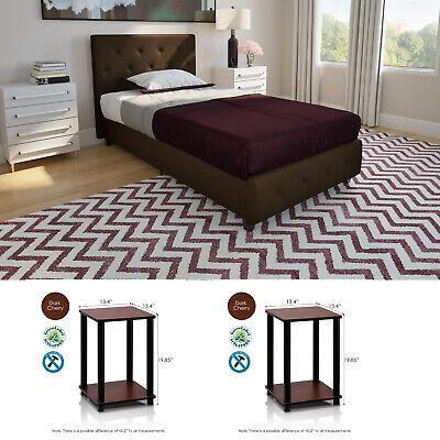 3 Piece Twin Size Bedroom Set Furniture Modern Platform Bed 2 Nightstands Brown