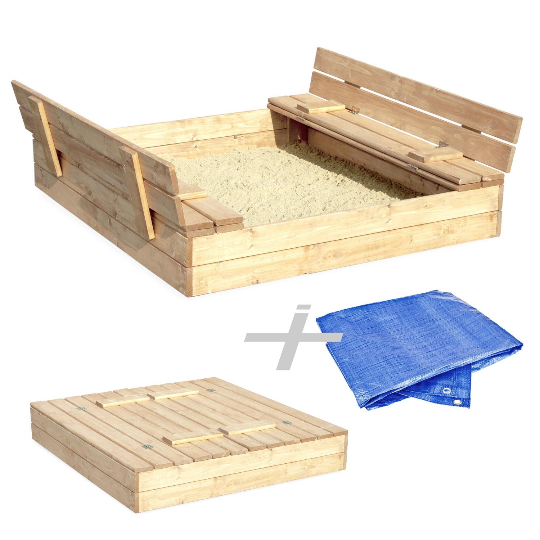 🏖Sandkasten Natur Sandbox Klappdeckel Sitzbänken 120x120 Holz  🏖