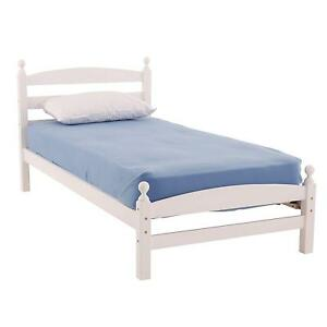 White Wooden Single Bed