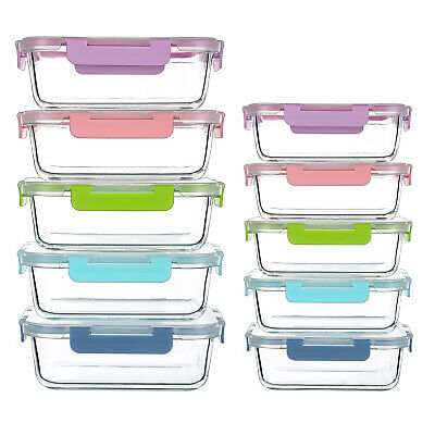 [10-Pack 12oz,34oz]Glass Food Containers with Airtight Lock Lids Five Color
