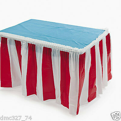 CIRCUS CARNIVAL Big Top Decoration Pleated RED and WHITE STRIPED TABLE SKIRT - Circus Carnival Decorations